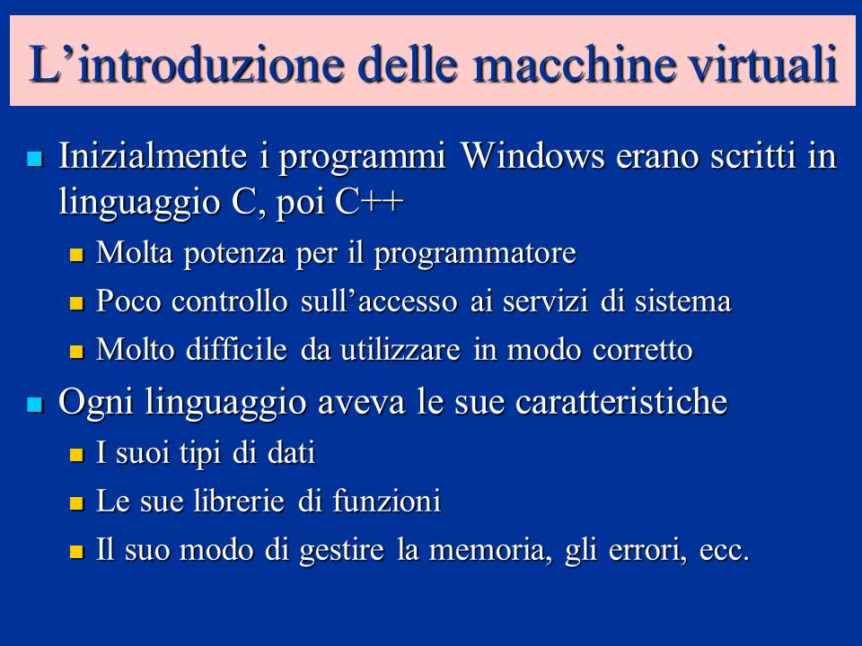 Lintroduzione delle macchine virtuali Inizialmente i programmi Windows erano scritti in linguaggio C, poi C++ Inizialmente i programmi Windows erano s