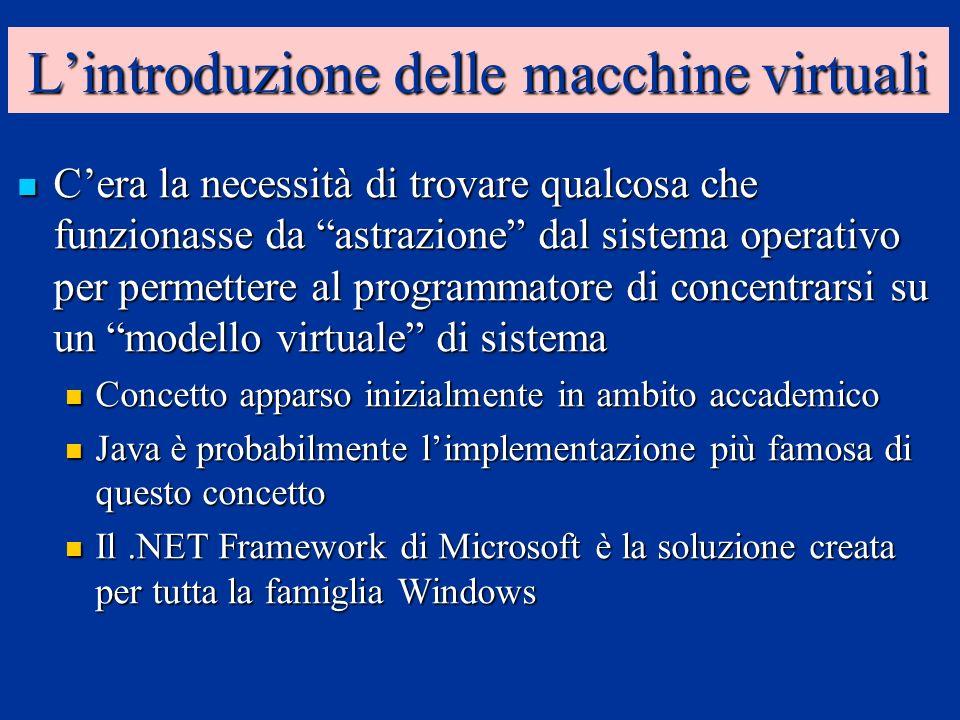 Lintroduzione delle macchine virtuali Cera la necessità di trovare qualcosa che funzionasse da astrazione dal sistema operativo per permettere al prog