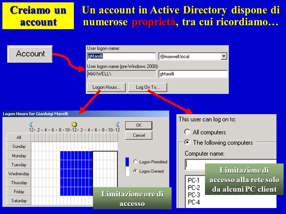 Creiamo un account Un account in Active Directory dispone di numerose proprietà, tra cui ricordiamo… Limitazione ore di accesso Limitazione di accesso