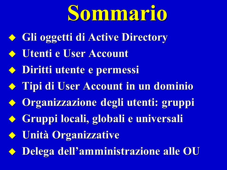 Gli oggetti di Active Directory Active Directory organizza la rete con uno schema logico ad oggetti Gli amministratori di una rete possono gestire le risorse hardware/software mediante oggetti.