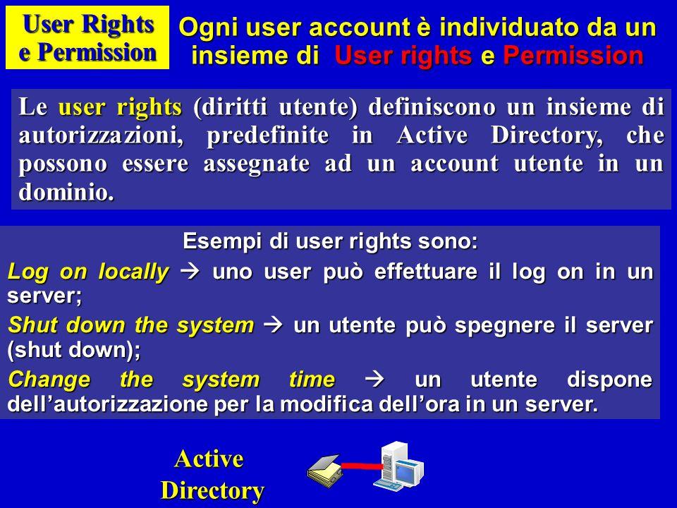 User Rights e Permission Le permission (permessi) definiscono i tipi di accesso alle risorse HW/SW che è possibile assegnare ad un utente.