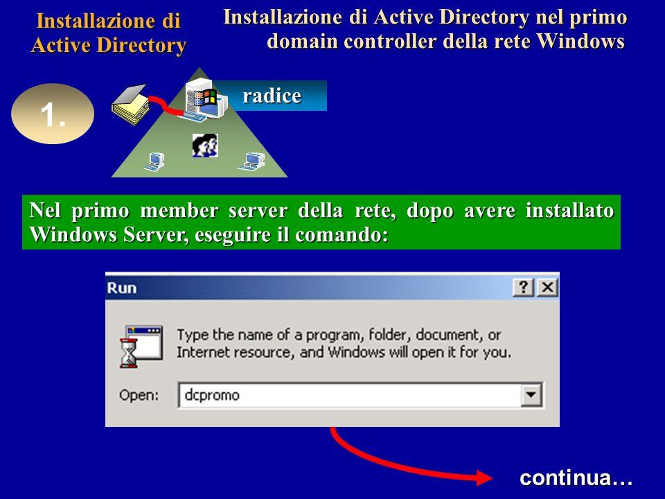 Installazione di Active Directory Installazione di Active Directory nel primo domain controller della rete Windows 1.