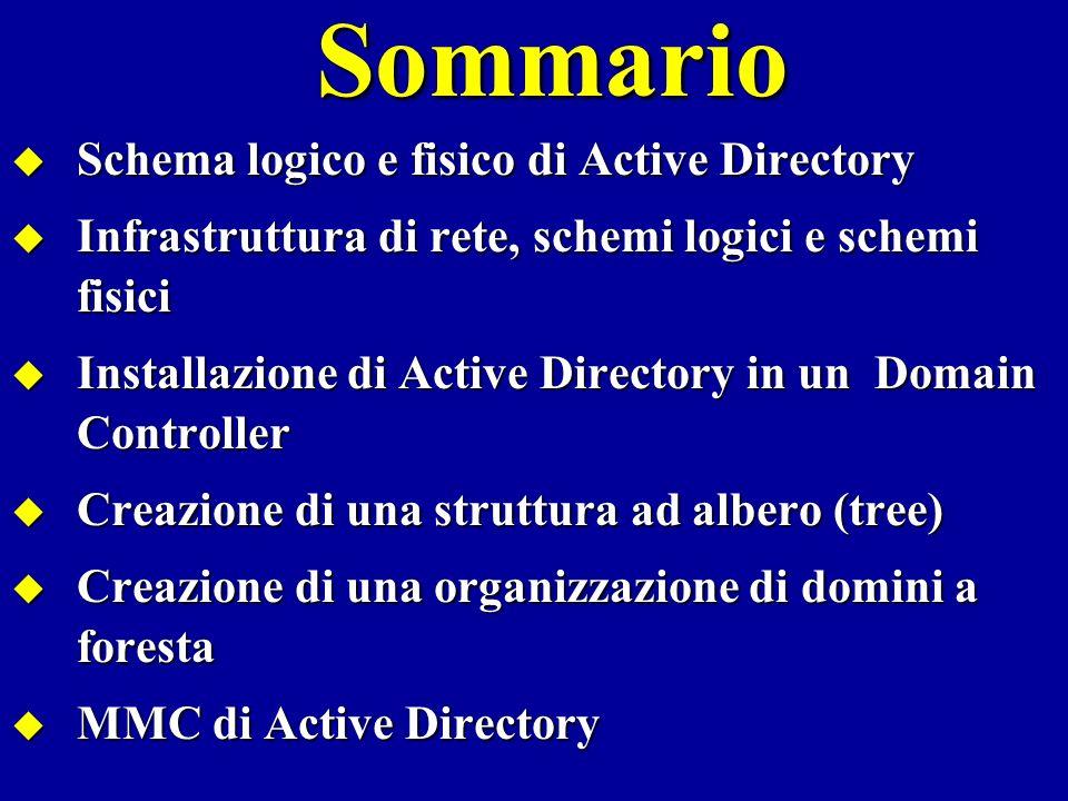 Schema logico e schema fisico Active Directory distingue… Lo schema logico di Active Directory rappresenta lorganizzazione di tutte le risorse della rete in oggetti: domini, unità organizzative (OU), gruppi, utenti, stampanti, ecc.