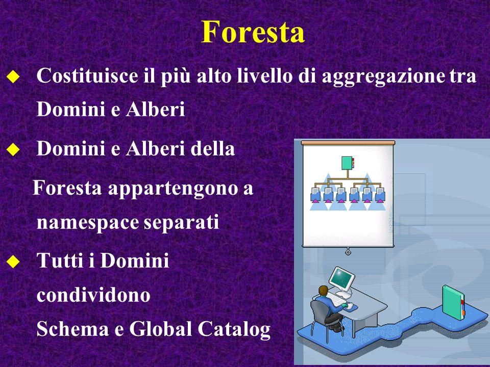 Foresta Costituisce il più alto livello di aggregazione tra Domini e Alberi Domini e Alberi della Foresta appartengono a namespace separati Tutti i Domini condividono Schema e Global Catalog