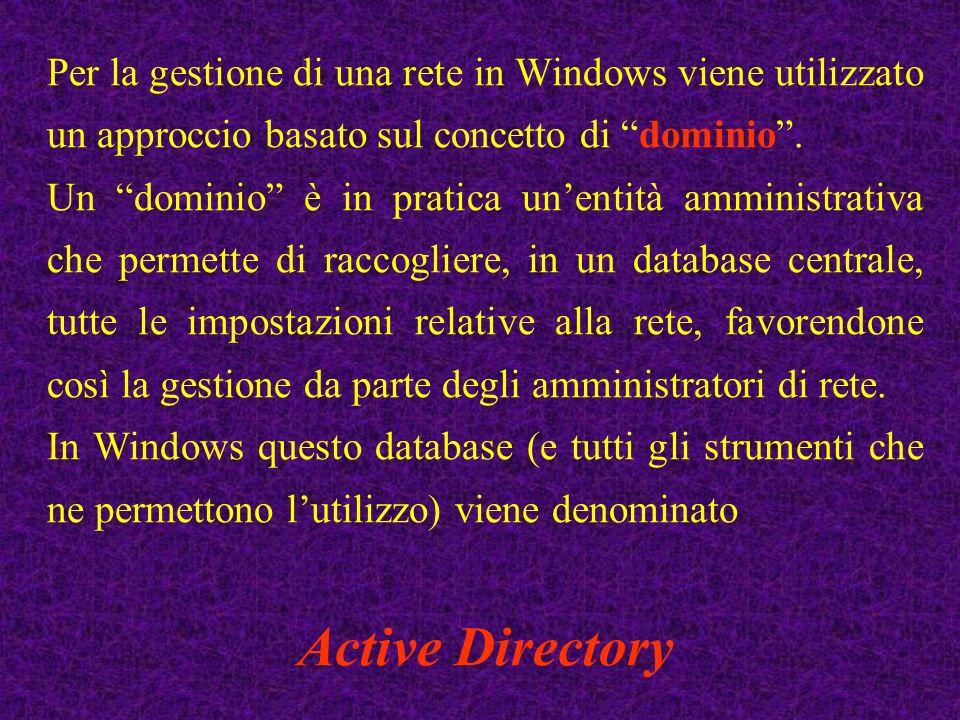Per la gestione di una rete in Windows viene utilizzato un approccio basato sul concetto di dominio. Un dominio è in pratica unentità amministrativa c