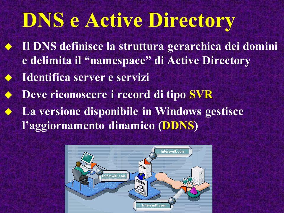 DNS e Active Directory Il DNS definisce la struttura gerarchica dei domini e delimita il namespace di Active Directory Identifica server e servizi Deve riconoscere i record di tipo SVR La versione disponibile in Windows gestisce laggiornamento dinamico (DDNS)