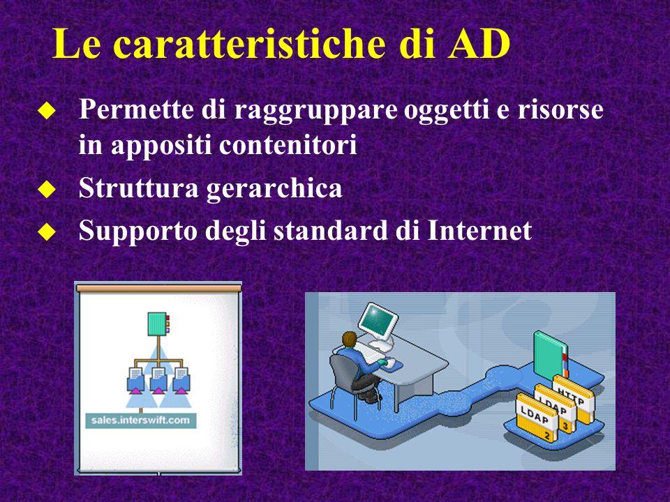 Permette di raggruppare oggetti e risorse in appositi contenitori Struttura gerarchica Supporto degli standard di Internet Le caratteristiche di AD
