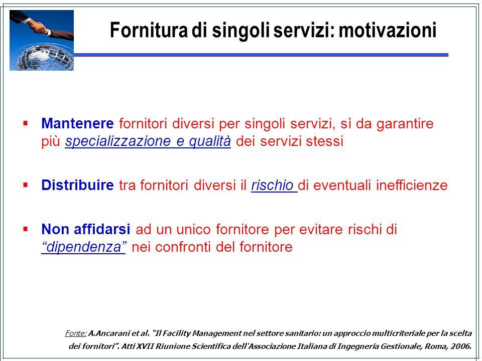 Fornitura di singoli servizi: motivazioni Mantenere fornitori diversi per singoli servizi, sì da garantire più specializzazione e qualità dei servizi