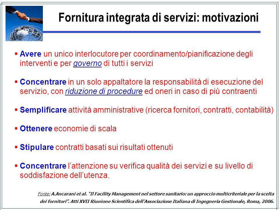 Fornitura integrata di servizi: motivazioni Avere un unico interlocutore per coordinamento/pianificazione degli interventi e per governo di tutti i se