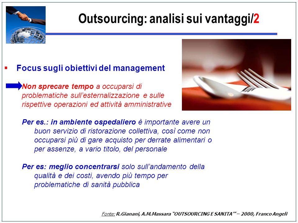 Focus sugli obiettivi del management Non sprecare tempo a occuparsi di problematiche sullesternalizzazione e sulle rispettive operazioni ed attività a