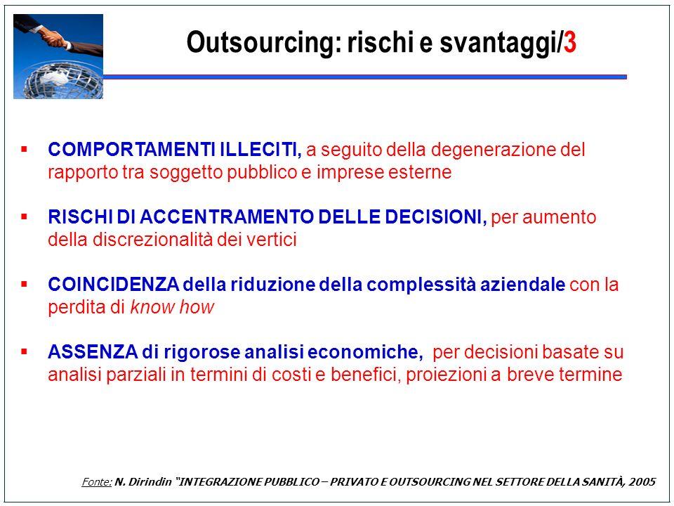 Outsourcing: rischi e svantaggi/3 COMPORTAMENTI ILLECITI, a seguito della degenerazione del rapporto tra soggetto pubblico e imprese esterne RISCHI DI