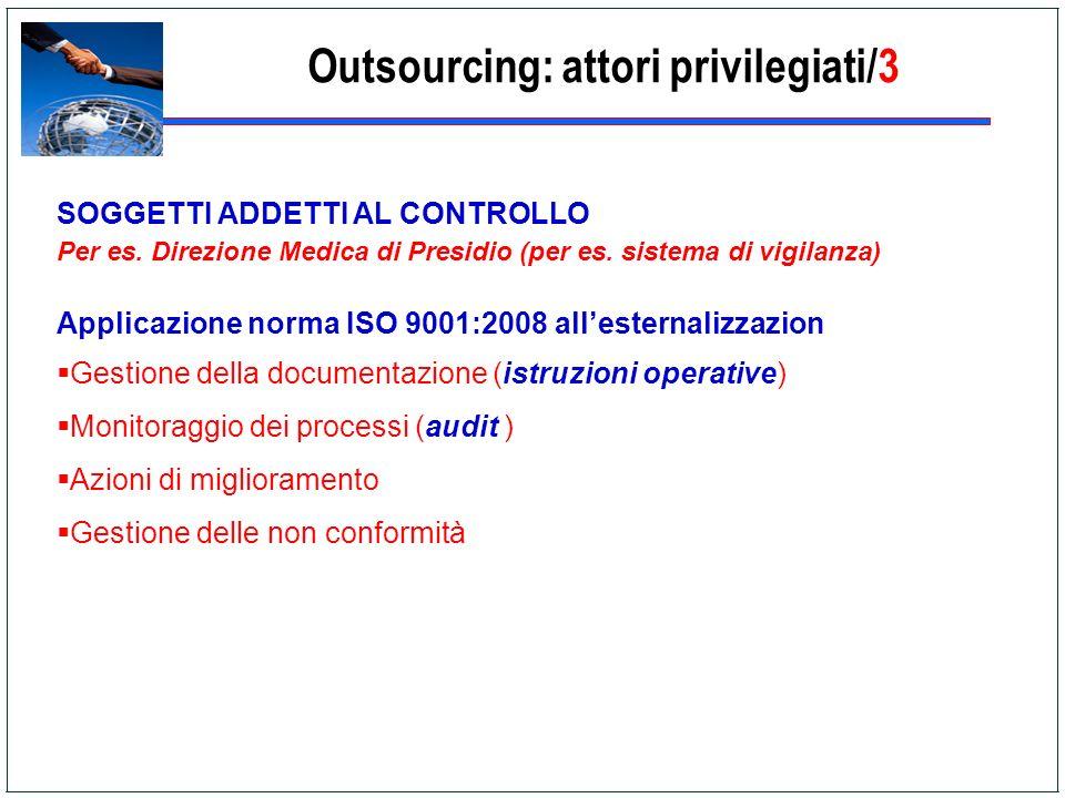 Outsourcing: attori privilegiati/3 SOGGETTI ADDETTI AL CONTROLLO Per es. Direzione Medica di Presidio (per es. sistema di vigilanza) Applicazione norm