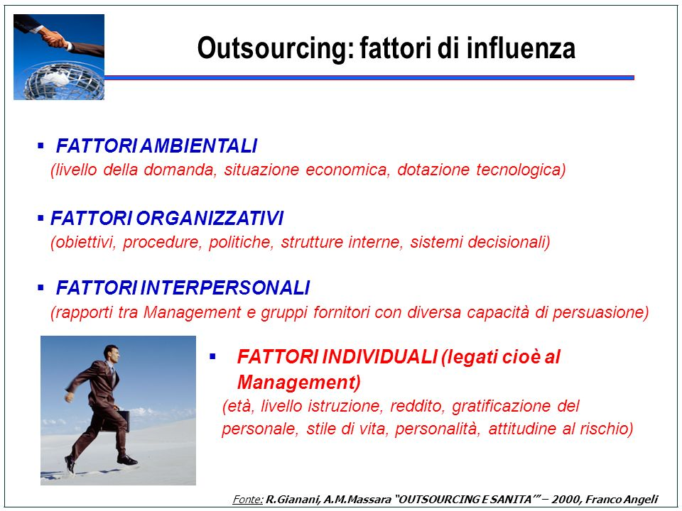 Outsourcing: fattori di influenza Fonte: R.Gianani, A.M.Massara OUTSOURCING E SANITA – 2000, Franco Angeli FATTORI AMBIENTALI (livello della domanda,