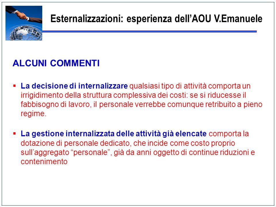 Esternalizzazioni: esperienza dellAOU V.Emanuele ALCUNI COMMENTI La decisione di internalizzare qualsiasi tipo di attività comporta un irrigidimento d