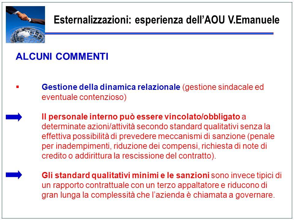 Esternalizzazioni: esperienza dellAOU V.Emanuele ALCUNI COMMENTI Gestione della dinamica relazionale (gestione sindacale ed eventuale contenzioso) Il
