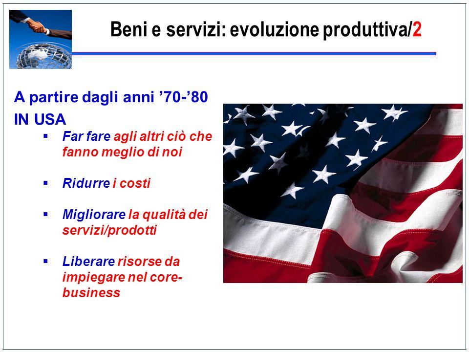 Beni e servizi: evoluzione produttiva/2 A partire dagli anni 70-80 IN USA Far fare agli altri ciò che fanno meglio di noi Ridurre i costi Migliorare l