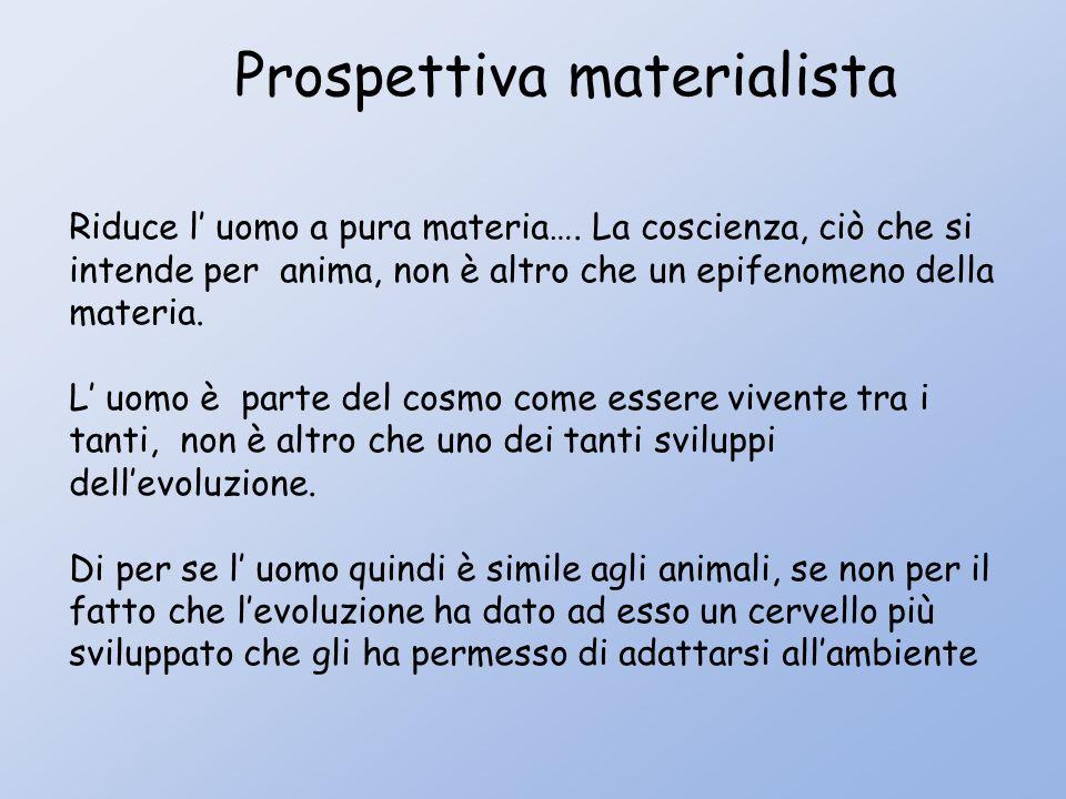 Prospettiva materialista Riduce l uomo a pura materia….