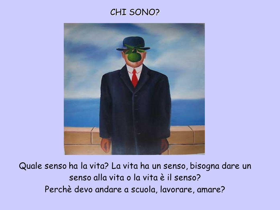 CHI SONO? Quale senso ha la vita? La vita ha un senso, bisogna dare un senso alla vita o la vita è il senso? Perchè devo andare a scuola, lavorare, am