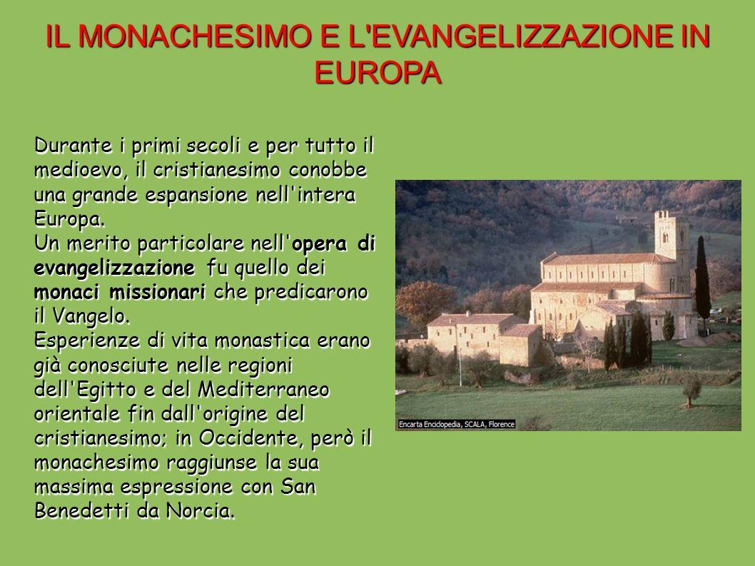 SAN BENEDETTO DA NORCIA San Benedetto da Norcia nato in Umbria intorno al 480, dopo gli studi letterari compiuti a Roma e un periodo di vita solitaria in una grotta di Subiaco,fondò nel 529 a Montecassino una comunità di monaci.