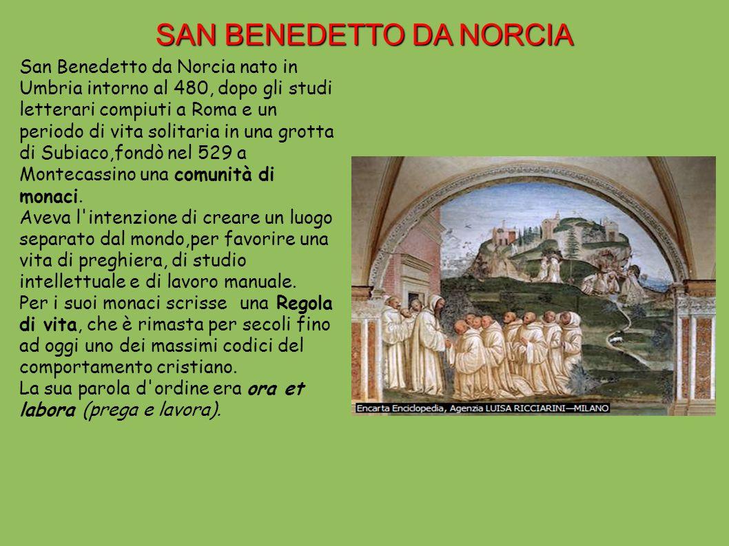 L OPERA DI SAN BENEDETTO Il monachesimo benedettino ebbe un enorme e benefica diffusione in tutta Europa.