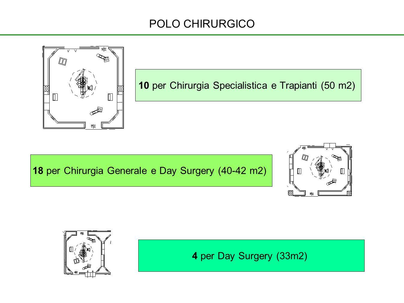 18 per Chirurgia Generale e Day Surgery (40-42 m2) 10 per Chirurgia Specialistica e Trapianti (50 m2) 4 per Day Surgery (33m2) POLO CHIRURGICO