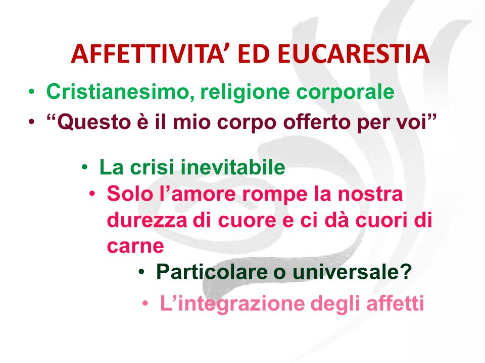 Alcune definizioni Affettività ed eucarestia Le trappole dellaffettività Tre passi per amare Disabilità ed affettività Noi Civuessini