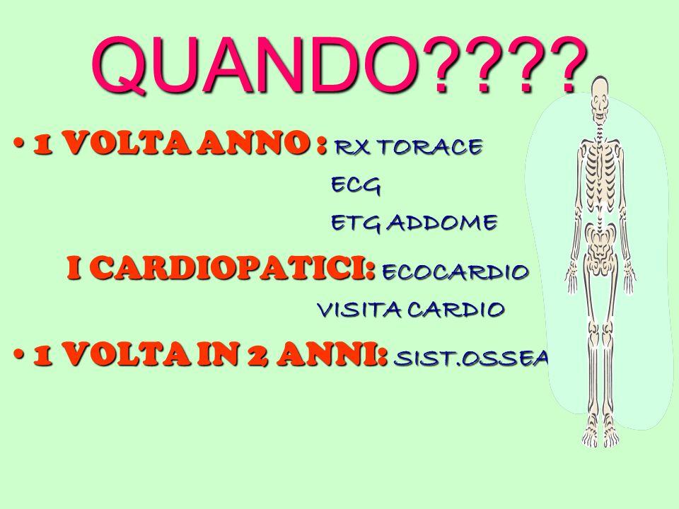 QUANDO???? 1 VOLTA ANNO : RX TORACE1 VOLTA ANNO : RX TORACE ECG ECG ETG ADDOME ETG ADDOME I CARDIOPATICI: ECOCARDIO I CARDIOPATICI: ECOCARDIO VISITA C