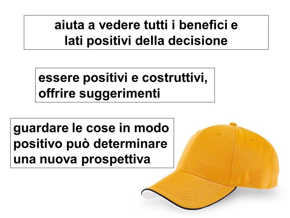 aiuta a vedere tutti i benefici e lati positivi della decisione essere positivi e costruttivi, offrire suggerimenti guardare le cose in modo positivo può determinare una nuova prospettiva