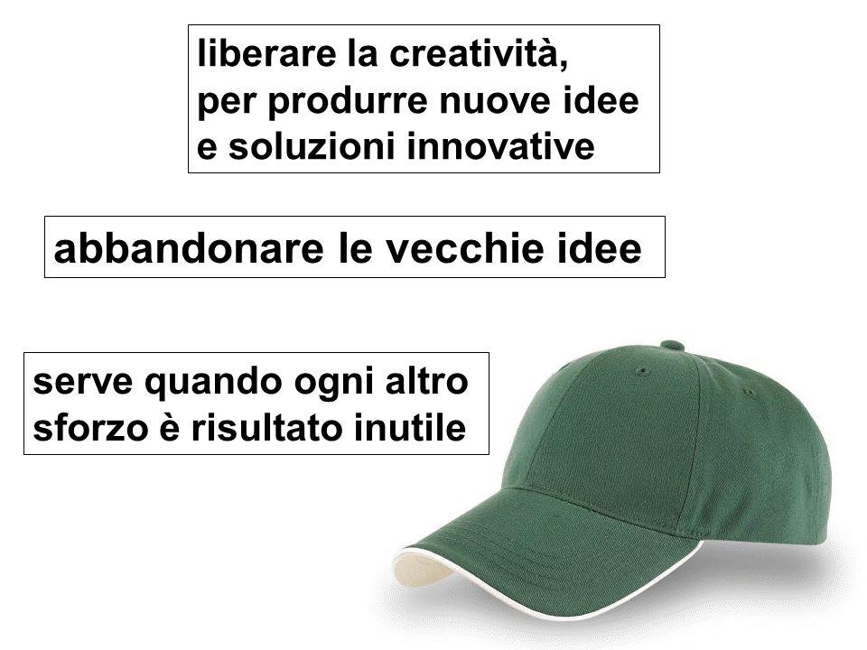 liberare la creatività, per produrre nuove idee e soluzioni innovative abbandonare le vecchie idee serve quando ogni altro sforzo è risultato inutile