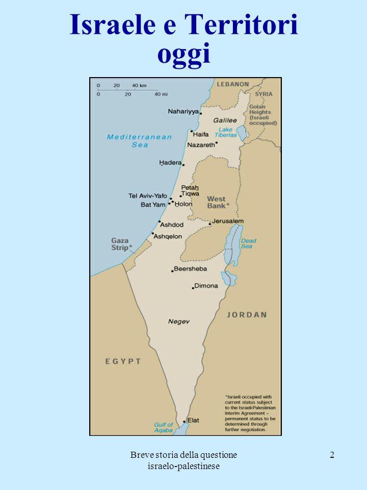 Breve storia della questione israelo-palestinese 13 Il piano ONU del 1947 Risoluzione 181 1) Evaquazione delle truppe britanniche entro il 1 maggio 1948; 2) Spartizione tra: - uno Stato palestinese (circa 1mln di unità); - uno Stato ebraico (ca.