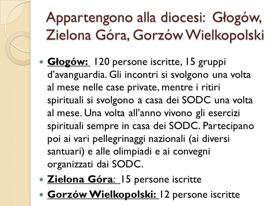 Appartengono alla diocesi: Głogów, Zielona Góra, Gorzów Wielkopolski Głogów: 120 persone iscritte, 15 gruppi davanguardia. Gli incontri si svolgono un