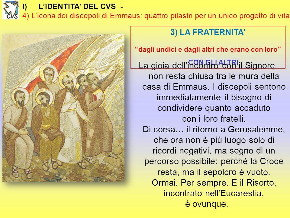 I)LIDENTITA DEL CVS - 4) Licona dei discepoli di Emmaus: quattro pilastri per un unico progetto di vita 3) LA FRATERNITA dagli undici e dagli altri ch