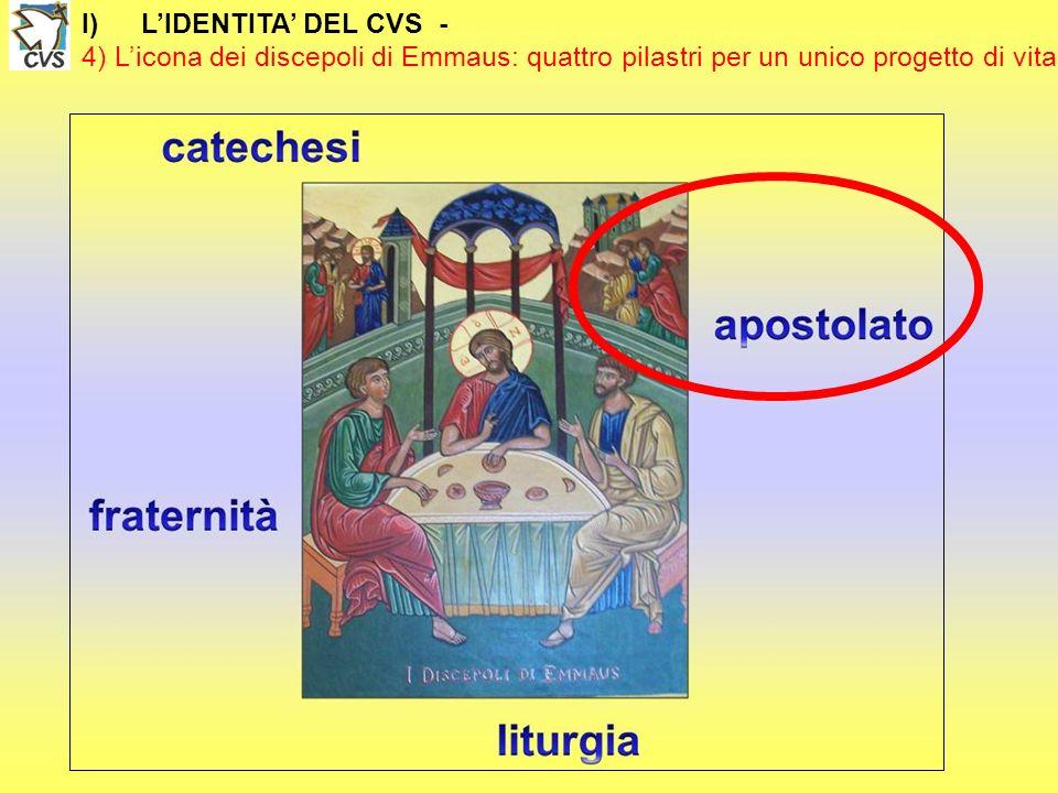 I)LIDENTITA DEL CVS - 4) Licona dei discepoli di Emmaus: quattro pilastri per un unico progetto di vita 4) LAPOSTOLATO Partirono senza indugio e riferirono quanto era accaduto NELLANNUNCIO