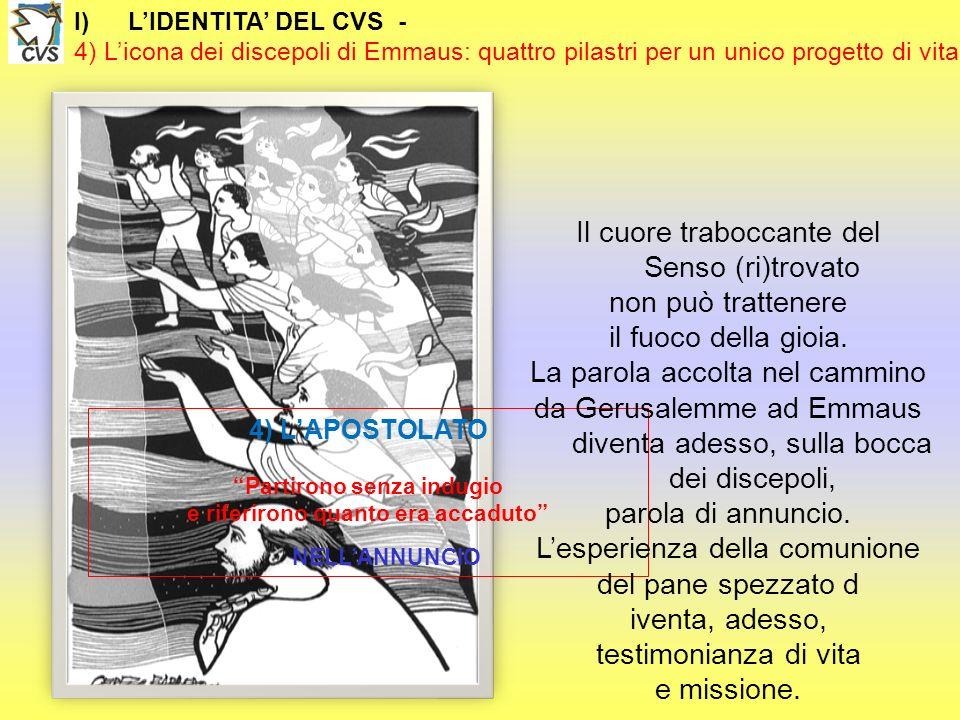 I)LIDENTITA DEL CVS - 4) Licona dei discepoli di Emmaus: quattro pilastri per un unico progetto di vita 4) LAPOSTOLATO Partirono senza indugio e rifer