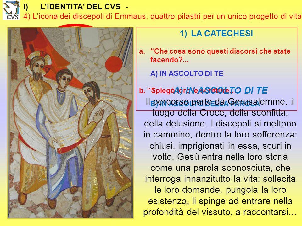 I)LIDENTITA DEL CVS - 4) Licona dei discepoli di Emmaus: quattro pilastri per un unico progetto di vita 1)LA CATECHESI a.Che cosa sono questi discorsi che state facendo?...
