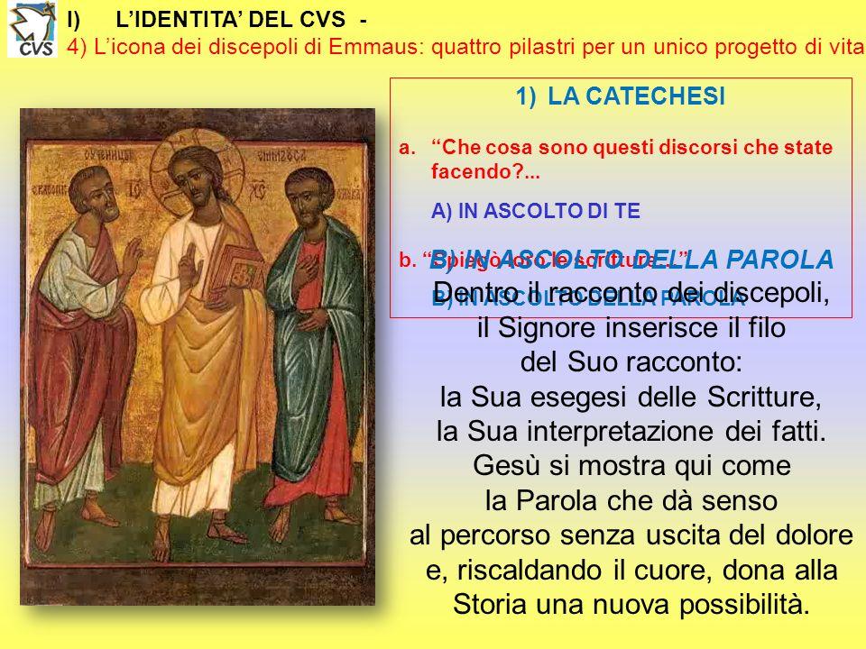 I)LIDENTITA DEL CVS - 4) Licona dei discepoli di Emmaus: quattro pilastri per un unico progetto di vita 1)LA CATECHESI a.Che cosa sono questi discorsi