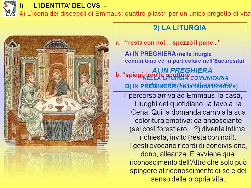 I)LIDENTITA DEL CVS - 4) Licona dei discepoli di Emmaus: quattro pilastri per un unico progetto di vita 2) LA LITURGIA a.resta con noi… spezzò il pane