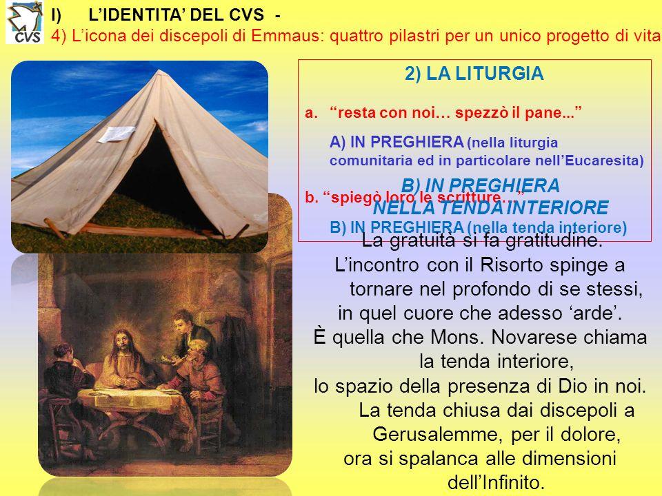 I)LIDENTITA DEL CVS - 4) Licona dei discepoli di Emmaus: quattro pilastri per un unico progetto di vita 2) LA LITURGIA a.resta con noi… spezzò il pane...