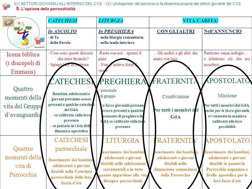 II) I SETTORI GIOVANILI ALLINTERNO DEL CVS - (3) I protagonisti del percorso e la dinamica propria dei settori giovanili del CVS b.