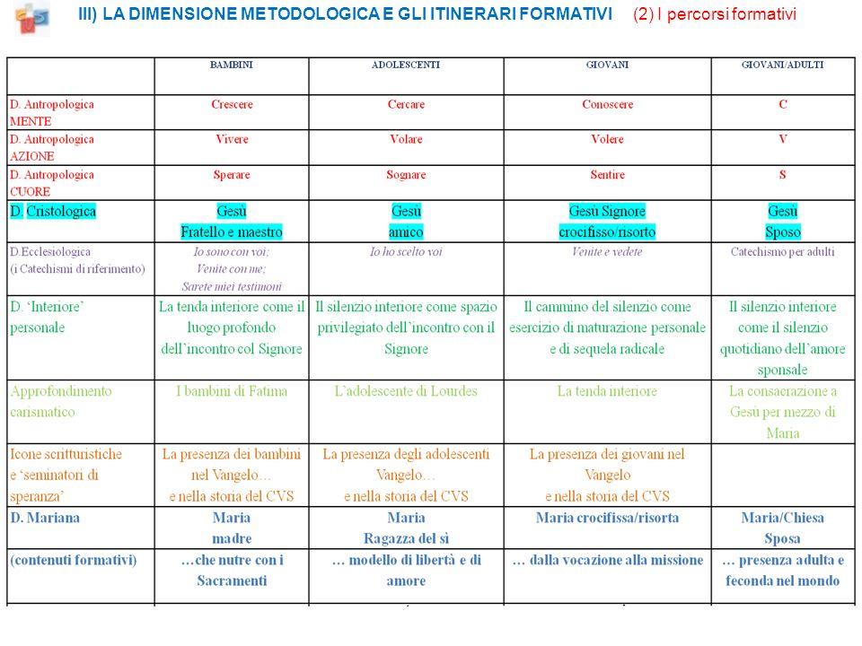 III) LA DIMENSIONE METODOLOGICA E GLI ITINERARI FORMATIVI (2) I percorsi formativi
