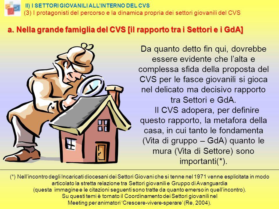 a. Nella grande famiglia del CVS [il rapporto tra i Settori e i GdA] a.