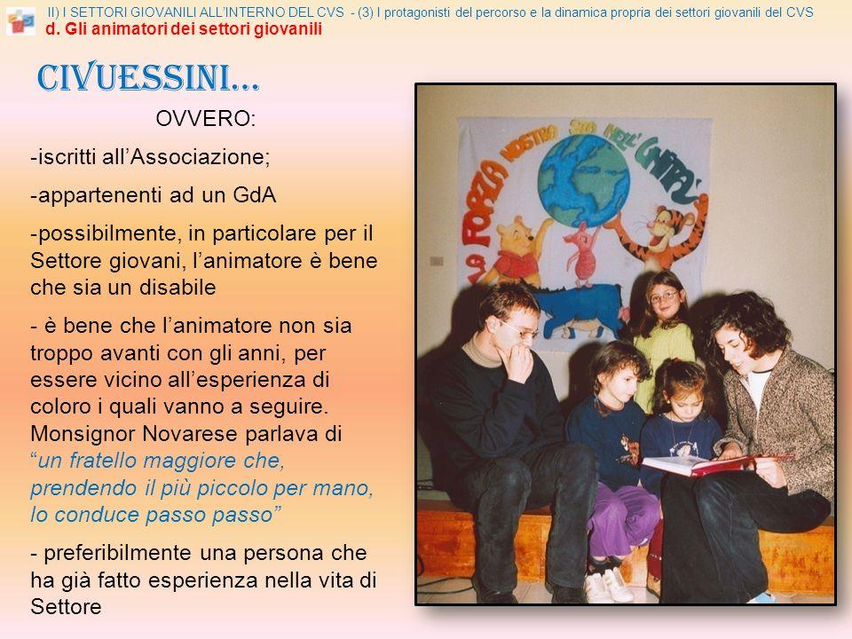 II) I SETTORI GIOVANILI ALLINTERNO DEL CVS - (3) I protagonisti del percorso e la dinamica propria dei settori giovanili del CVS d.