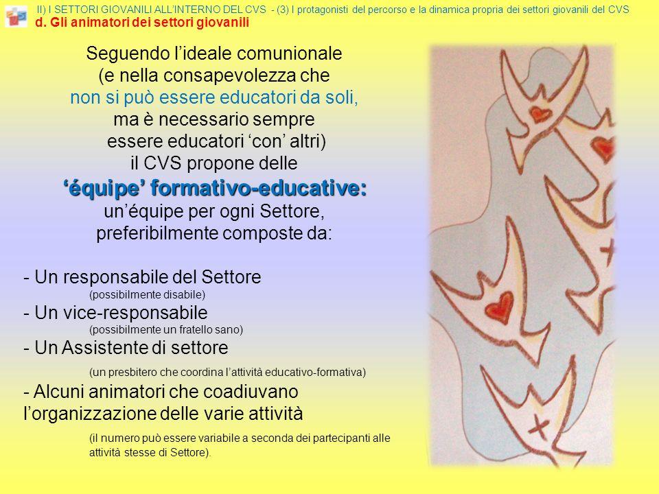 II) I SETTORI GIOVANILI ALLINTERNO DEL CVS - (3) I protagonisti del percorso e la dinamica propria dei settori giovanili del CVS d. Gli animatori dei