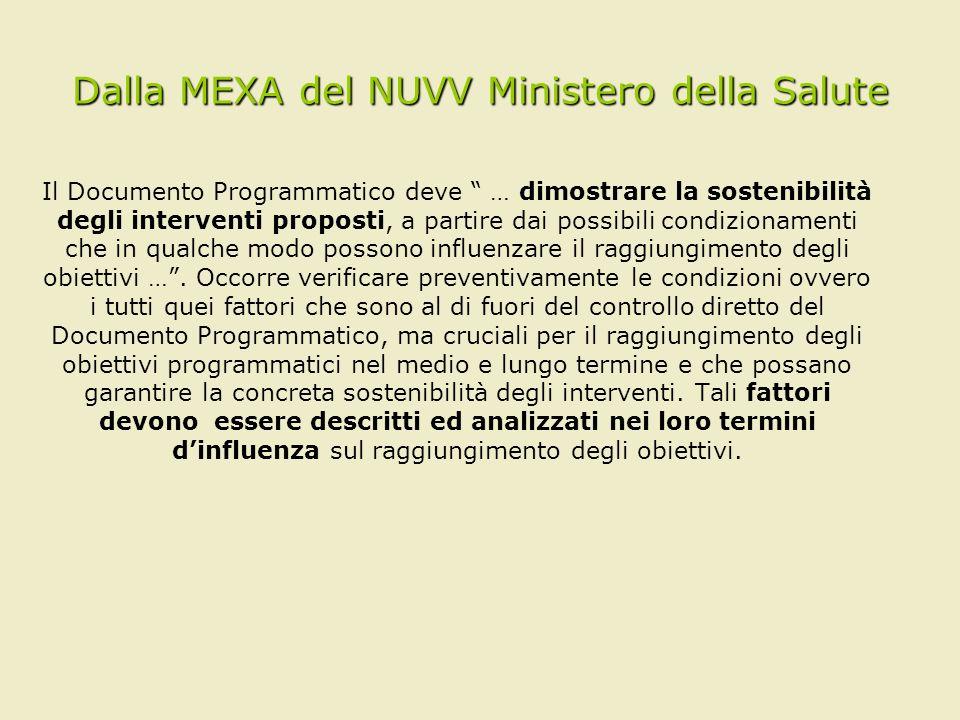 Dalla MEXA del NUVV Ministero della Salute Il Documento Programmatico deve … dimostrare la sostenibilità degli interventi proposti, a partire dai poss
