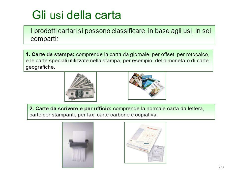 7/9 Gli usi della carta I prodotti cartari si possono classificare, in base agli usi, in sei comparti: 1. Carte da stampa: comprende la carta da giorn