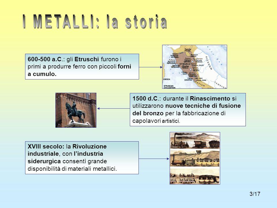 3/17 600-500 a.C.: gli Etruschi furono i primi a produrre ferro con piccoli forni a cumulo. 1500 d.C.: durante il Rinascimento si utilizzarono nuove t