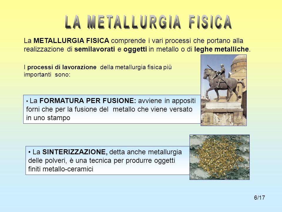 6/17 La METALLURGIA FISICA comprende i vari processi che portano alla realizzazione di semilavorati e oggetti in metallo o di leghe metalliche. I proc