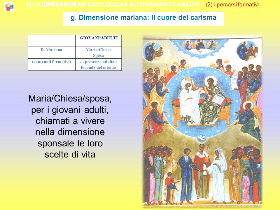 III) LA DIMENSIONE METODOLOGICA E GLI ITINERARI FORMATIVI (2) I percorsi formativi g.