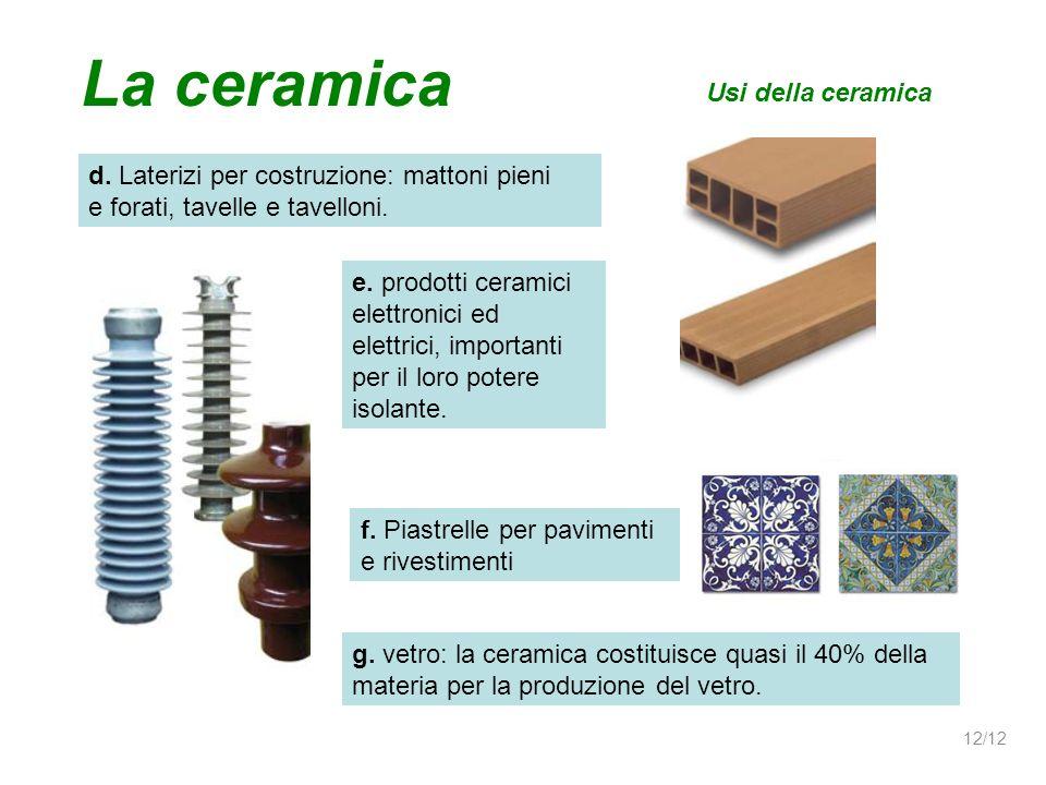 d. Laterizi per costruzione: mattoni pieni e forati, tavelle e tavelloni. Usi della ceramica La ceramica e. prodotti ceramici elettronici ed elettrici