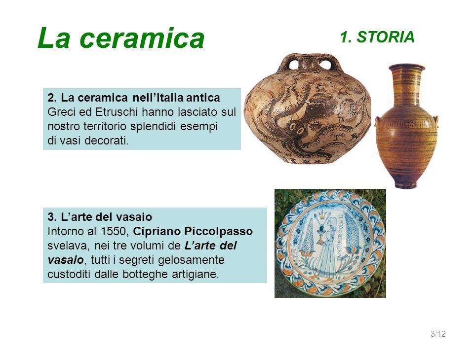 La ceramica 1. STORIA 2. La ceramica nellItalia antica Greci ed Etruschi hanno lasciato sul nostro territorio splendidi esempi di vasi decorati. 3. La
